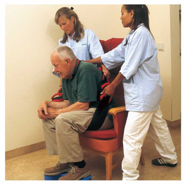 SitWalk Wheelchair Positioning Strap is designed to facilitate repositioning of a user, e.g. when moving the user further back in a chair or wheelchair.
